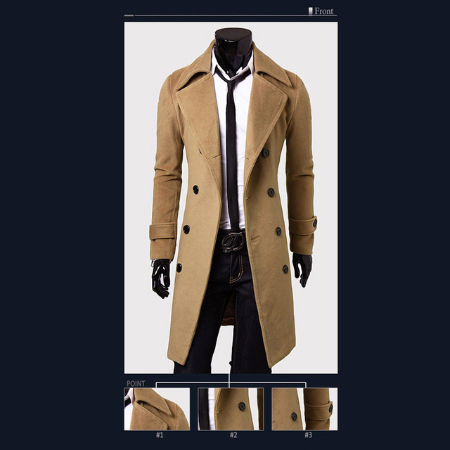 Fashion Coat Men Wool Coat Winter Warm Solid Long Trench Jacket Breasted Business Casual Overcoat Parka Man coat winter 4