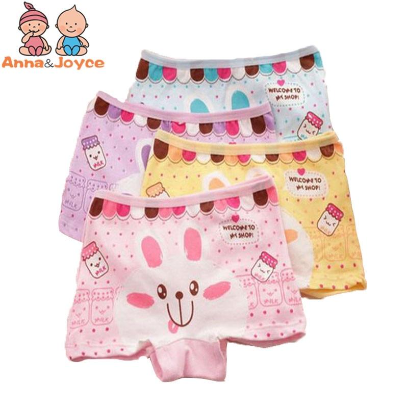 4pcs/Lot Cartoon Panties Cotton Short Pants Girls' Underwear Suit 2-10Years 5