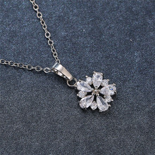 Charm Female Crystal Pendant Necklace Cute Silver Color Chain Necklaces For Women White Zircon Flower Wedding Necklace elegant crystal zircon pendant necklace silver white red