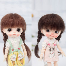 1/8 BJD mohair wig ob11 doll hair lovely wind curly hair double ponytail twist small braid doll wigs doll accessories jd252 1 8 lati yellow mohair doll wig size 5 6 inch two bowl braid long bjd wigs