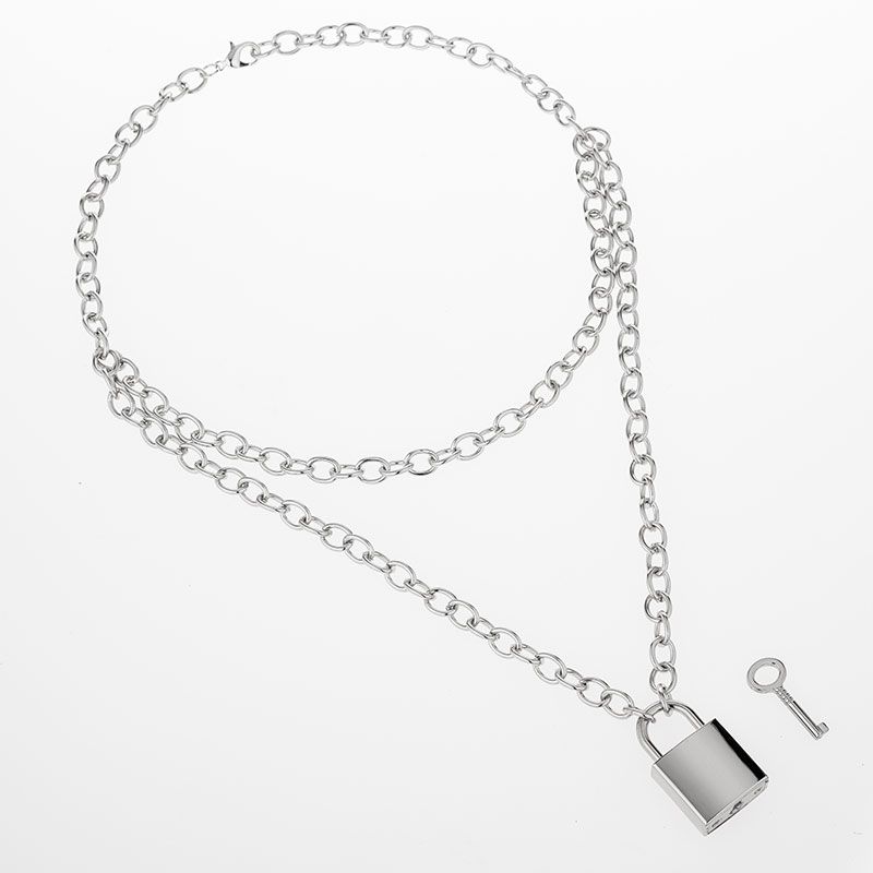 H920b2f834d63428f8d818c865c8210eeE - KMVEXO Multilayer Lock Chain Necklace Punk Padlock Key Pendant Necklace Women Girl Fashion Gothic Party Jewelry