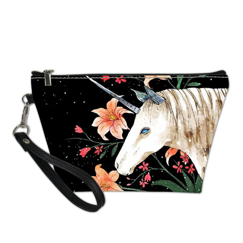 Black New fashion cosmetic organizer bag unicorn Heat Transfer Printing Cosmetic Bag Fashion Women Brand makeup bag косметичка in Cosmetic Bags Cases from Luggage Bags