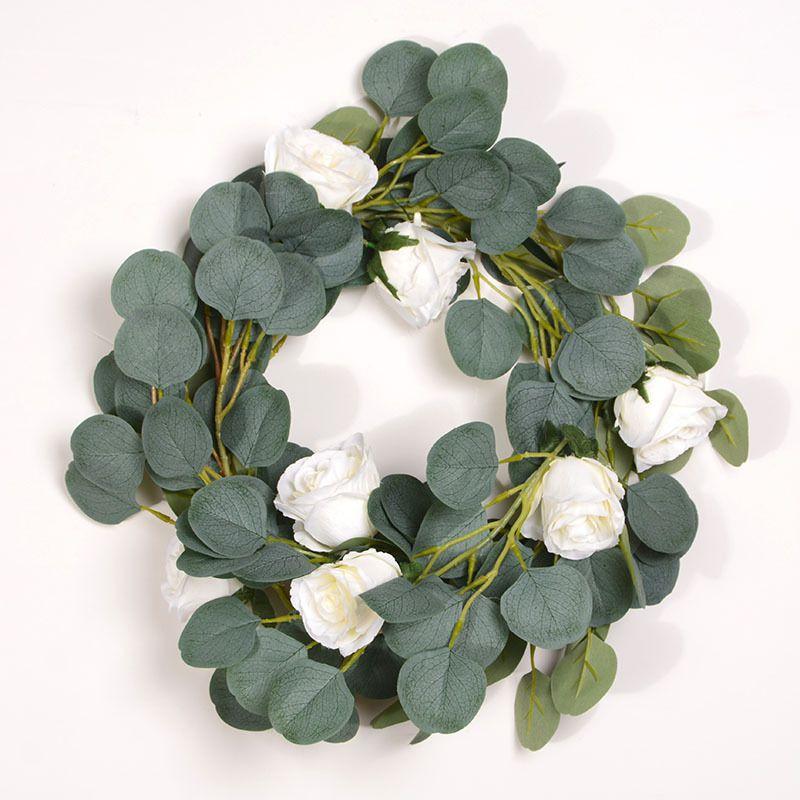 Long Artificial Silver Dollar Eucalyptus Leaves With Rose Garland Holiday Season Floral Greenery Garlands Fake Hanging