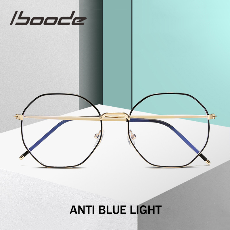 Iboode Polygon Metal Eyewear Frames Men Women Vintage Retro Optical Eye Glasses Anti Blue Light Transparent Spectacle Frames