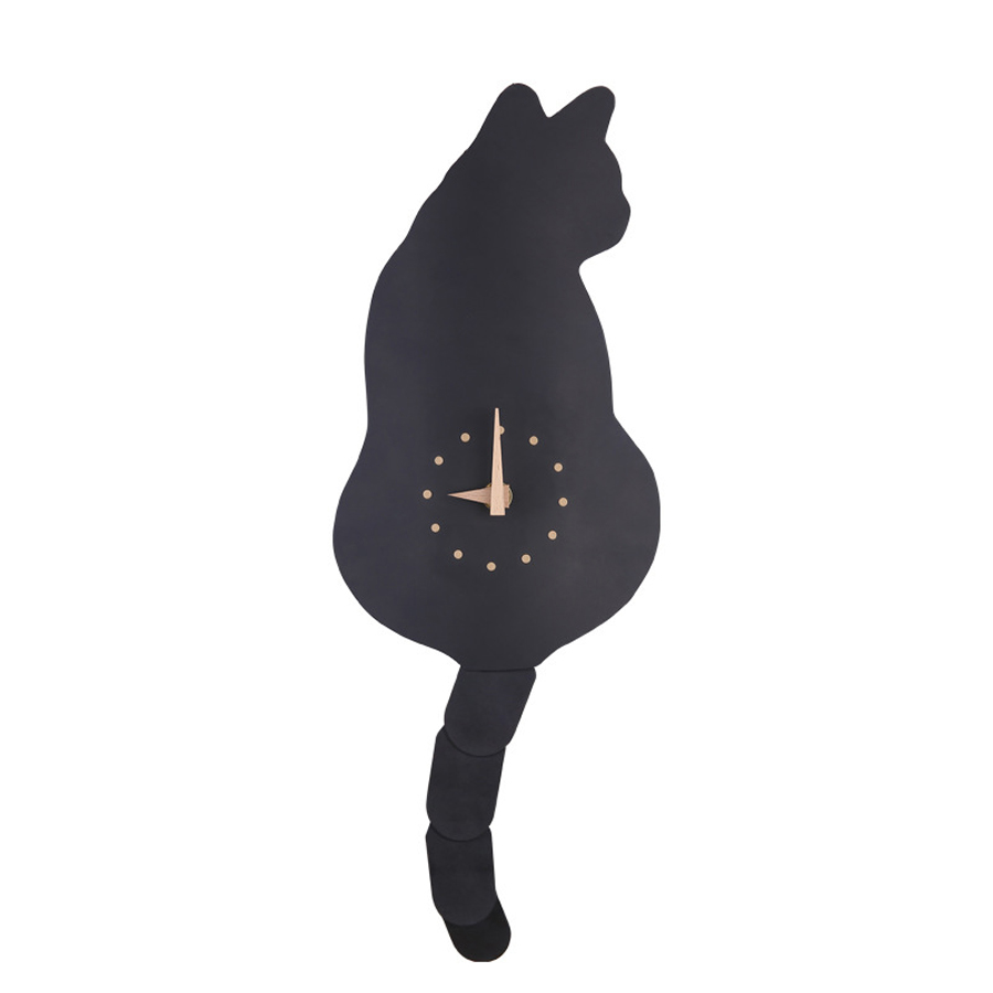Creative Cute Cat Wall Clock Simple Modern Design With Wagging Funny Tail Animal Clocks Acrylic Quartz Wall Watch Home Decor