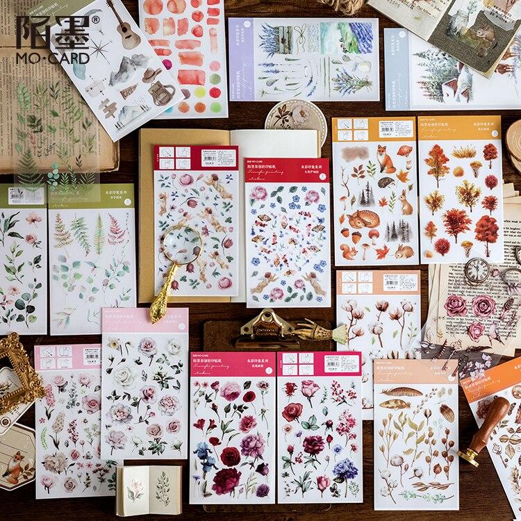Watercolor 12Pcs \DIY PVC CreativePersonality Sticker Magazine Album Diary Calendar Scrapbook Student Stationery Office Supplies