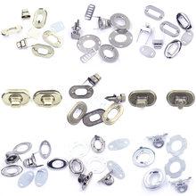 5 takım dönüş büküm anahtarı toka kilitleri toka Metal DIY çanta çanta donanım omuz alet çantası zanaat aksesuarları