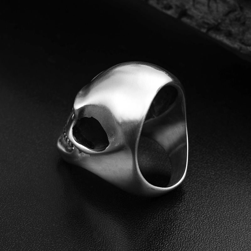 Punk Silver Matte Skull Head Men 39 s Ring Stainless Steel Cool Death Skull Rings Halloween Hollow Gothic Men 39 s Jewelry Accessories in Rings from Jewelry amp Accessories