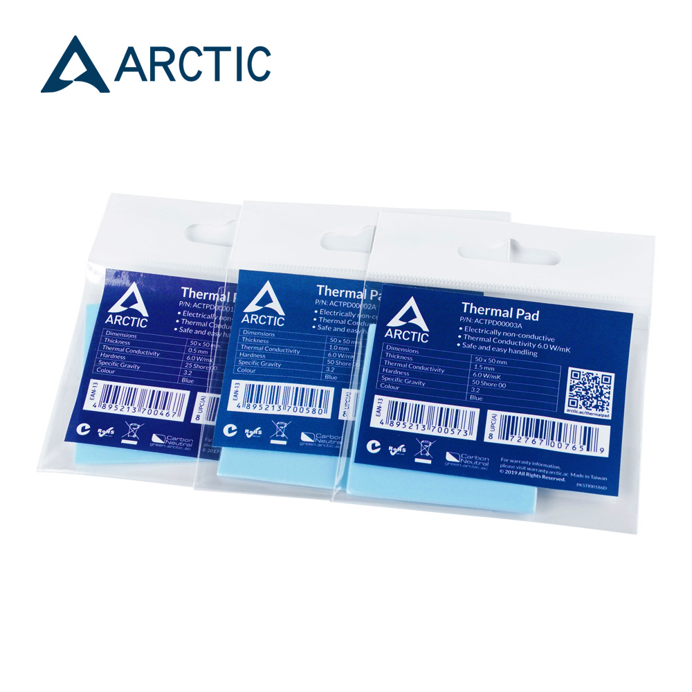 ARCTIC Thermal Pad 6.0 W/mK Conductivity 0.5mm 1.0mm 1.5mm Thickness High Efficient Thermal Mat 50x50mm 1