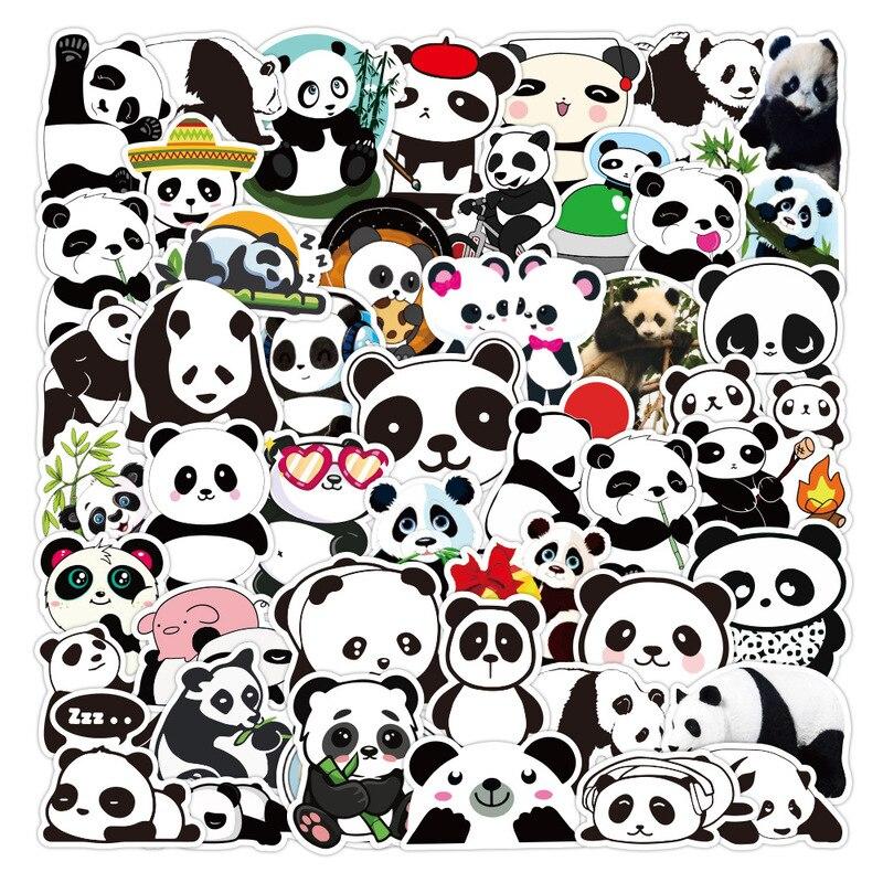 Pegatinas de dibujos animados de Panda para niños, 50 Uds., monopatín DIY, nevera, teléfono, guitarra, portátil, equipaje, pegatina de animales