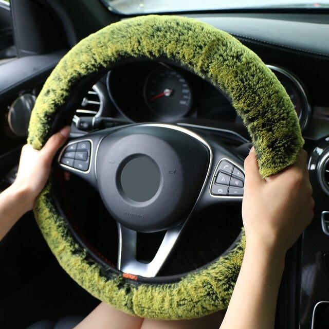 الشتاء سوبر لينة أفخم عجلة توجيه سيارة غطاء العالمي ، الدافئة فو الفراء السيارات المقود على المقود جديلة جميلة