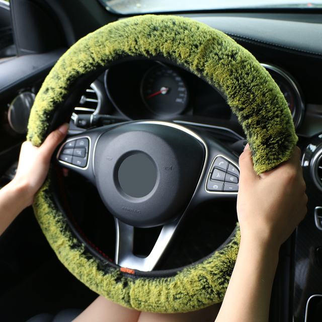 Winter Super Soft Plush Car Steering Wheel Cover Universal,Warm Faux Fur Auto Handlebar on the Steering Wheel Braid Beautiful