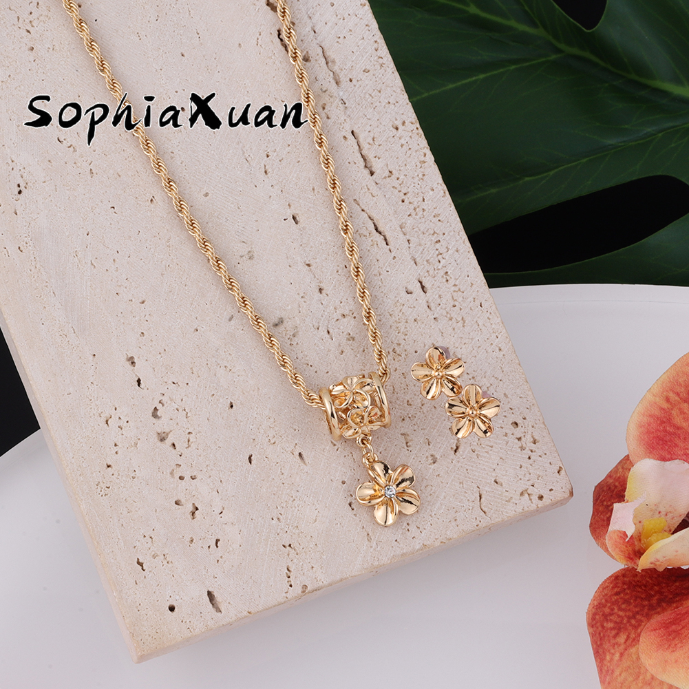 SophiaXuan New Design Hawaiian Jewelry Set Samoa Marshall Plumeria Flower Earrings Necklaces Sets Jeweler for Women Gifts Party