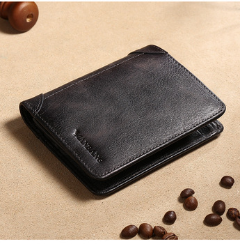 HOT Genuine Leather Men Wallet Small Mini Card Holder Male Wallet Pocket Retro purse High Quality 9