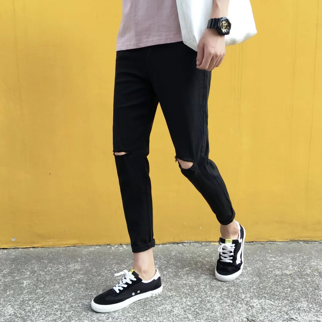 Summer Black Jeans Knee A- Line Ripped Pants Boy's Trend Korean-style Slim Fit Beggar Skinny Trousers Elasticity