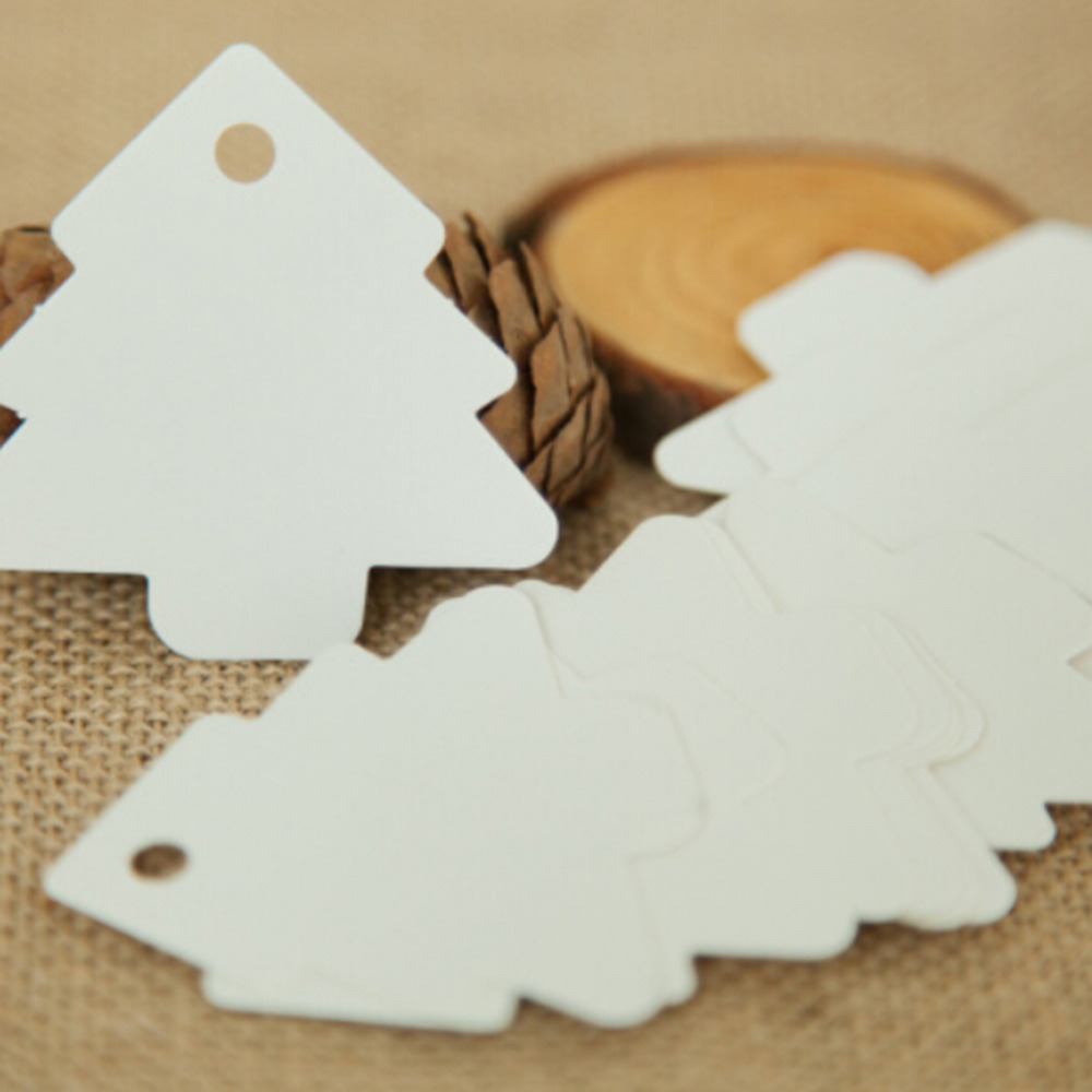 50 Pcs Christmas Tree Shape Hang Tag Kraft Christmas Decoration Cards Gift Wrapping Paper Labels  5