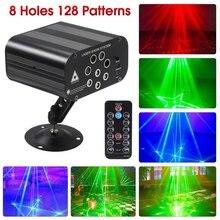 128 padrões projetor dj luz laser vermelho verde azul led efeito bola de luz discoteca com controlador movendo a cabeça festa lâmpada