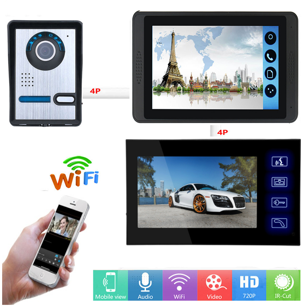 APP Remote Control Video Intercom 7 Inch LCD Wifi Wireless Video Door Phone Doorbell Visual Speakerphone Unlock Intercom System
