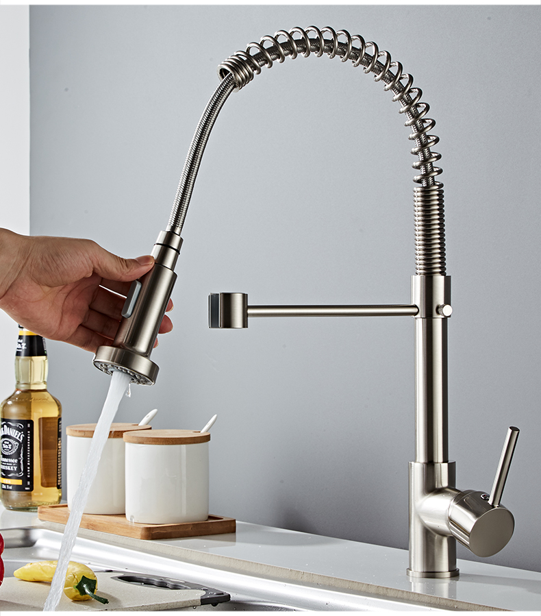 H920c2dfc550d47ca93431e0108c1187fw Deck Mounted Flexible Kitchen Faucets Pull Out Mixer Tap Black Hot Cold Kitchen Faucet Spring Style with Spray Mixers Taps E9009