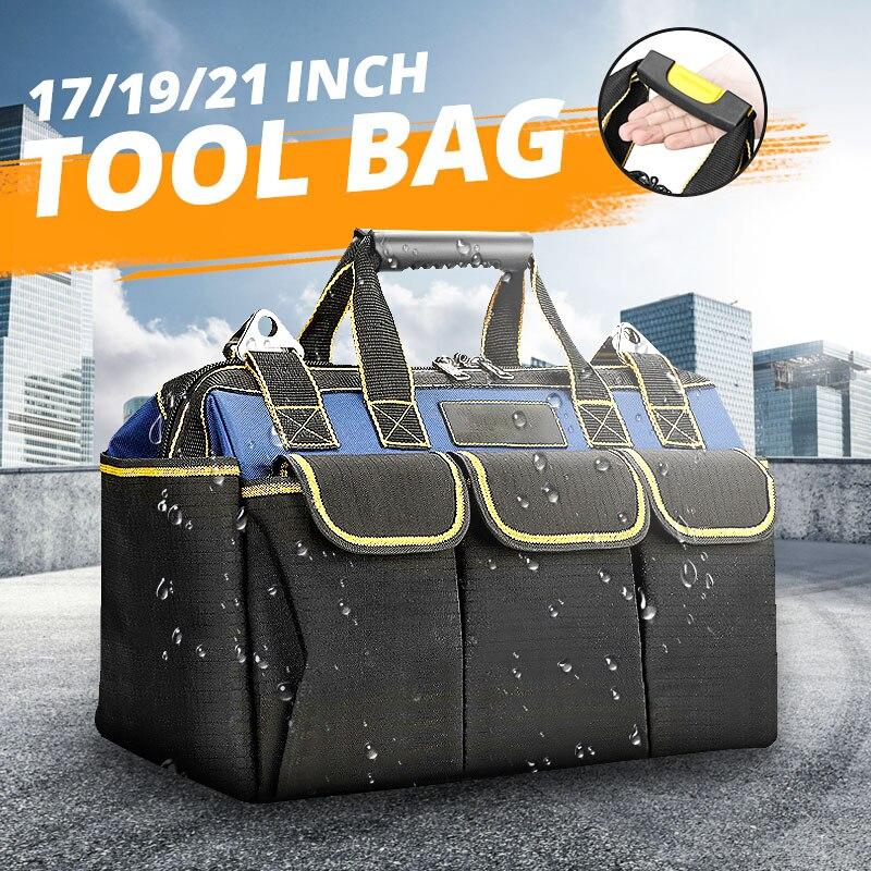 17/19/21 Inch Multi-function Tool Bag 1680D Oxford Cloth Electrician Bag Multi-pocket Waterproof Anti-fall Storage Bag Toolkit