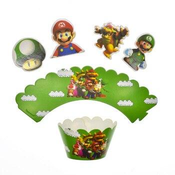 24 unids/pack niños favores Tema de Súper Mario decoración bebé Cupcake para la ducha envoltorios Feliz cumpleaños eventos adornos para la parte superior de una tarta de fiesta