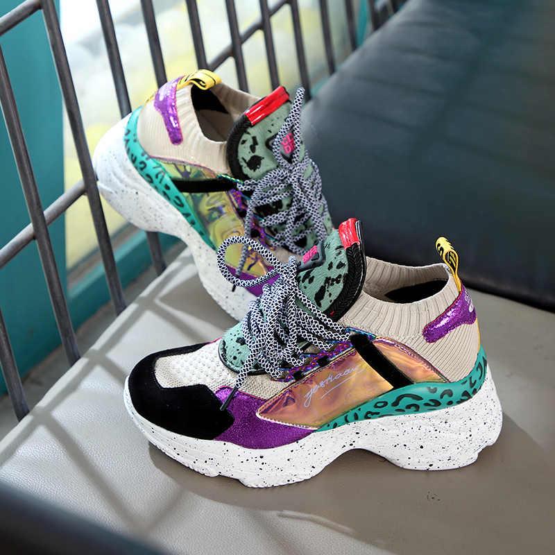 Zapatillas nuevas ERNESTNM 2020 para mujer, zapatillas blancas con plataforma 35-42, zapatos de herradura, botas informales, zapatos gruesos transpirables suaves para mujer