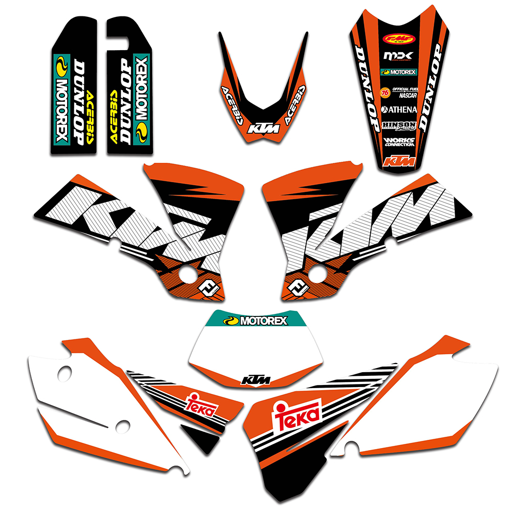 TEAM GRAPHICS & BACKGROUNDS DECALS STICKERS FOR KTM EXC 125 200 250 300 400 450 525 2004 Motorcycle Graphic Decal
