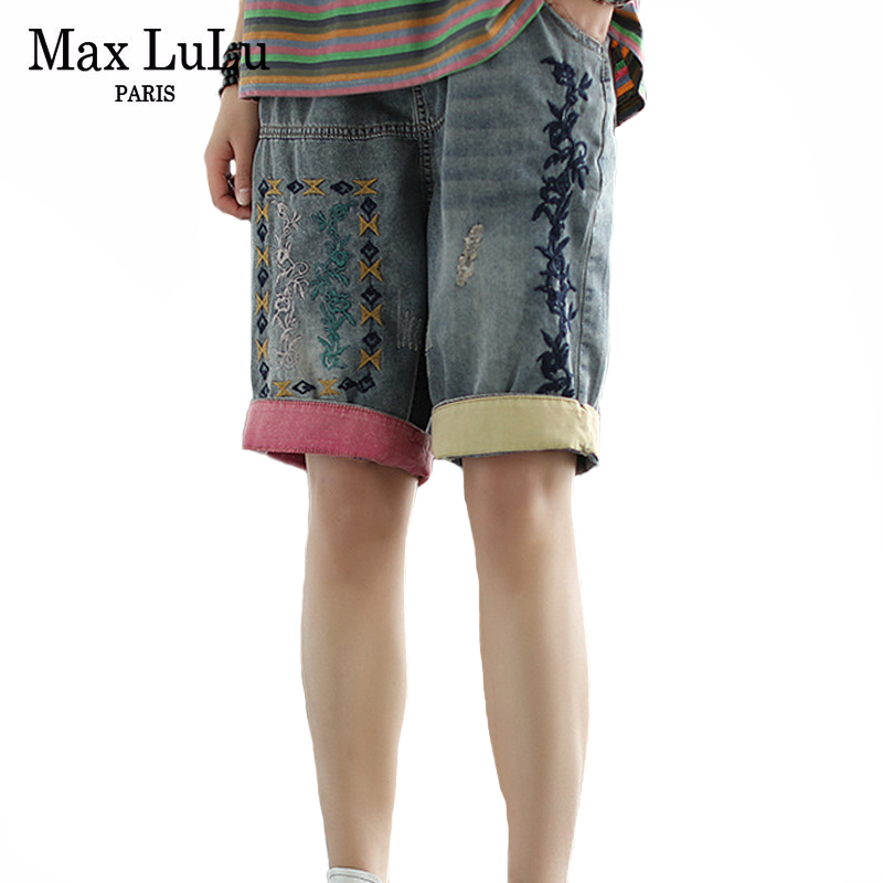 Max LuLu New 2020 Summer Fashion Ladies Vintage Short Jeans Women Embroidery Denim Trousers Casual Streetwear Female Loose Pants