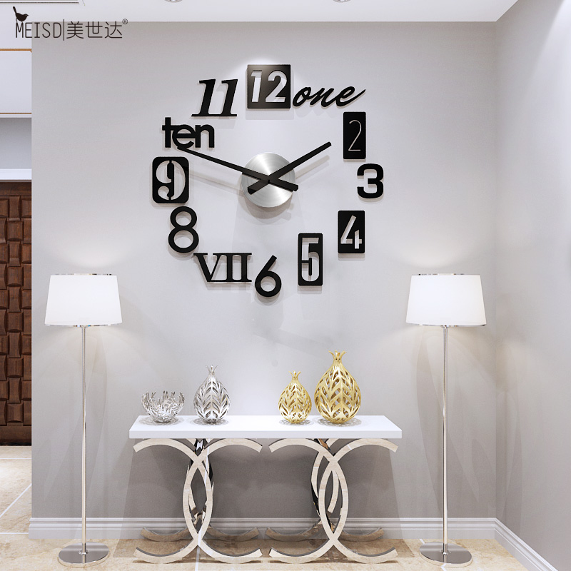 3D European Style DIY Large Wall Clock Modern Design Art Decal Self-Adhesive Mirror Stickers Clocks Watch Home Decor Living Room