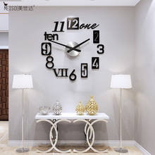 European Style 3D DIY Large Wall Clock Modern Design Art Mirror Stickers Clocks Watch Home Decor Living Room Free Shining