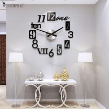 European Style 3D DIY Large Wall Clock Modern Design Art Design Mirror Stickers Clocks Watch Home Decor Living Room Free Shining modern european landscape design