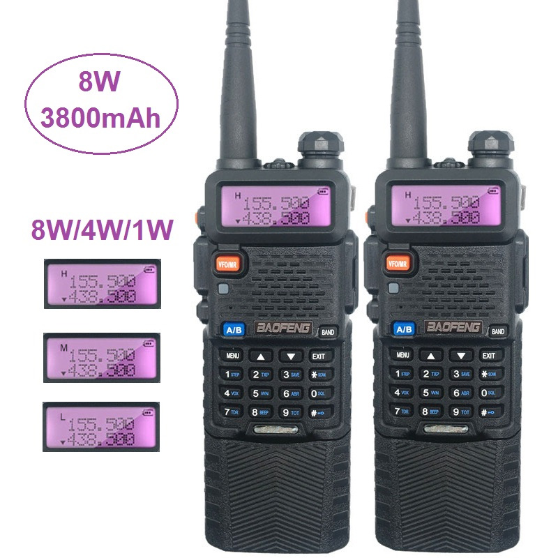 Baofeng UV-5R 8W Powerfu Walkie Talkie Amateur Radio Scanner VHF UHF Ham CB Radio Comunicador USB Woki Toki 3800mAh UV5R Hunting
