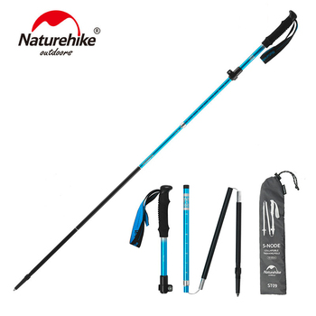 NatureHike Aluminum Alloy Hiking Stick 5 Section Outdoor Telescopic Walking Stick Foldable Trekking Pole Light Hiking Cane outdoor anti fall cane folding blind stick 4 sections folding blind guide cane aluminum walking stick w climbing goods