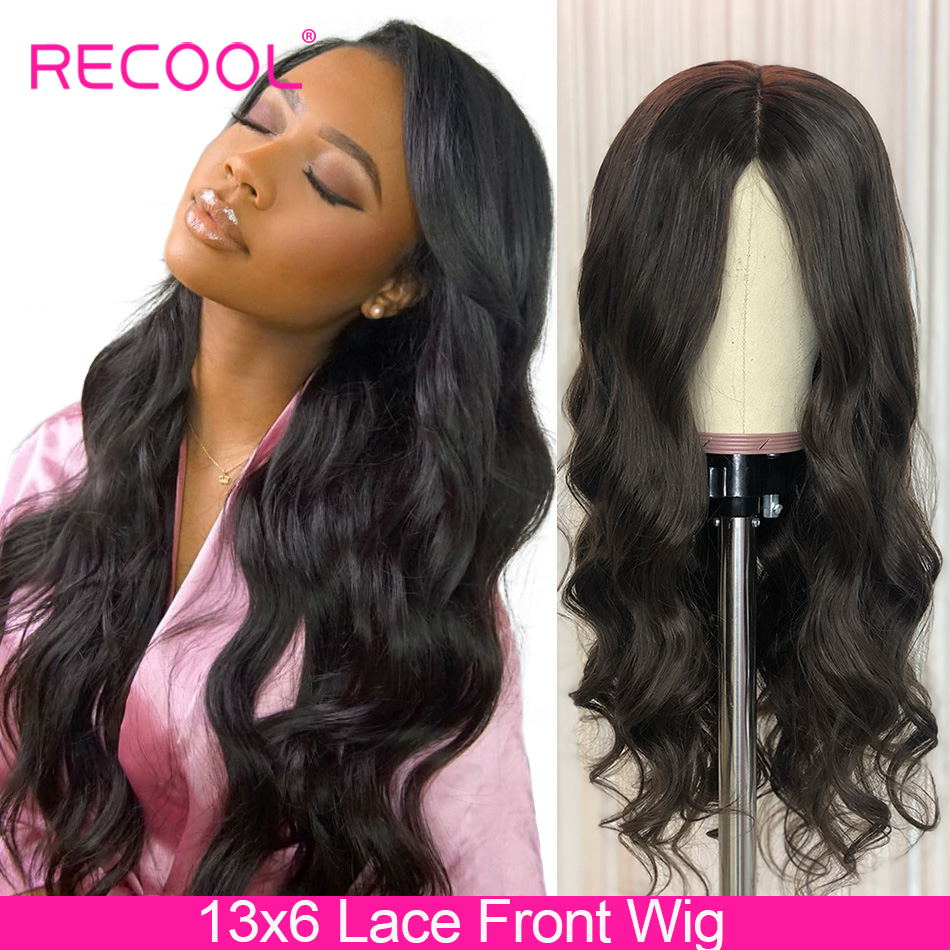 Recool 13x6 Lace Front Human Hair Wigs Pre Plucked 150 180 250 Density Lace Frontal Wig