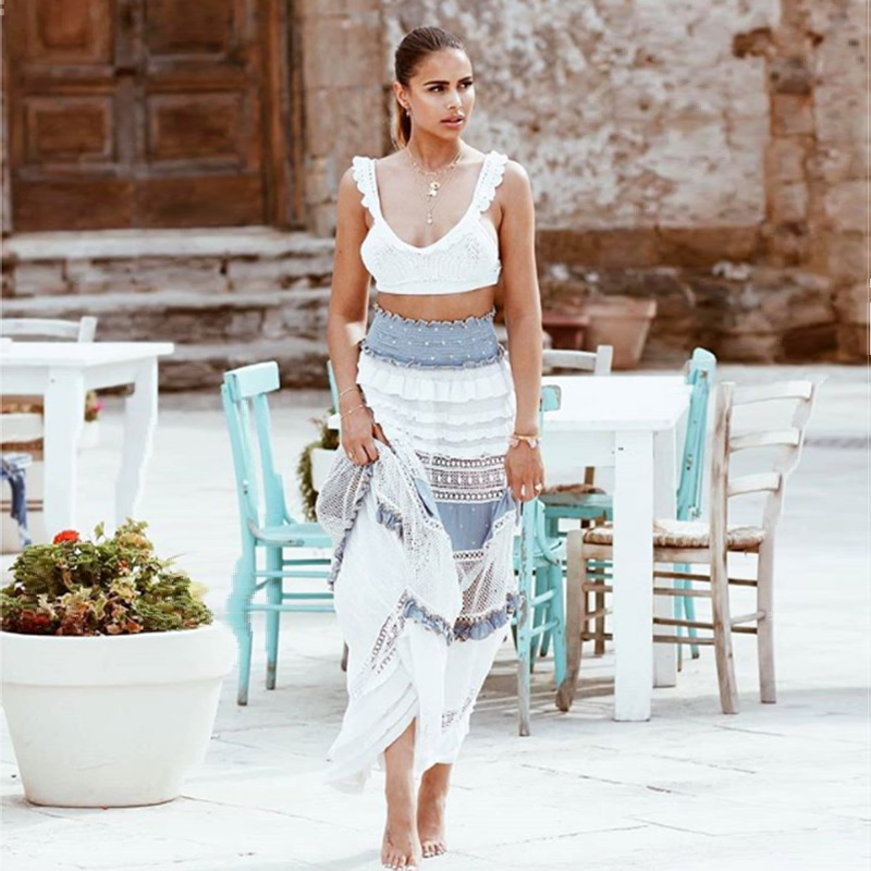 Lace Bohemian Elegant Skirts Women High Waist Skirt Floor Length Ruffles Patchwork Skirt 2020 New Beach Style Vacation