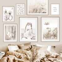 Magnolia-cuadro sobre lienzo para pared de mujer, mariposa, diente de león, decoración para sala de estar, estilo nórdico