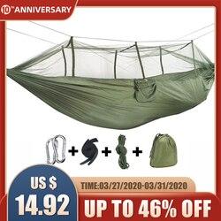 Rede de acampamento ao ar livre com mosquito rede 1-2 pessoa portátil viagem acampamento tecido pendurado balanço redes cama mobiliário jardim