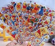 12 sheets/lot 3D Baby Bear cartoon Winnie Pooh stickers anime decals wall for kids gift puffy reward rooms decoration