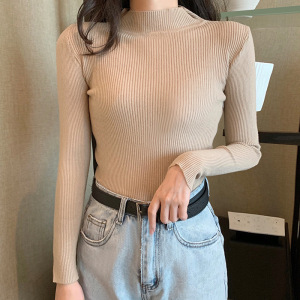Stretchy Sweaters Female Turtleneck Pullovers Soft Pulls Long Sleeve Basic Slim-Fit Tight Pull Capuche Autumn Winter New