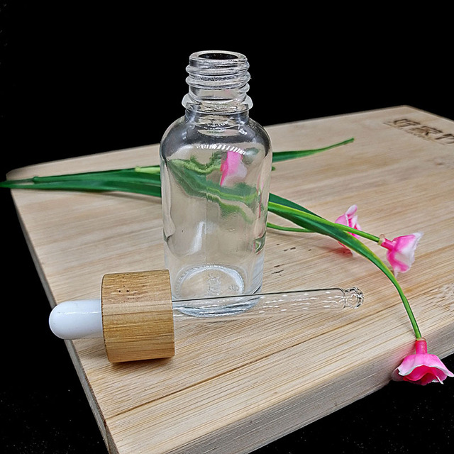 50pcs clear glass dropper bottle eco-friendly wooden lid bamboo cap essential oil pipette bottle container 5/10/15/20/30/50ml