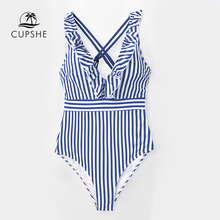CUPSHE Blue And White Stripe Ruffled One Piece Swimsuit Women Sweet Crisscross Monokini 2020 Girl Beach Bathing Suits