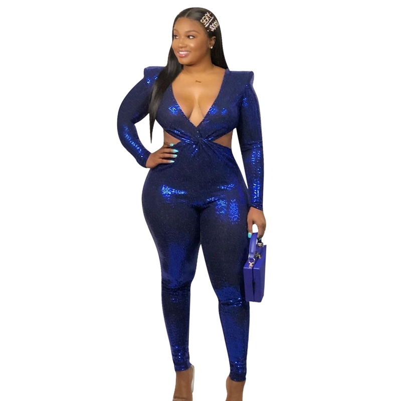 Blue Sexy Sequin Jumpsuit For Women Deep V Neck Hollow Out Long Sleeve Bodycon Romper Jumpsuit Sparkly Night Party Club Jumpsuit