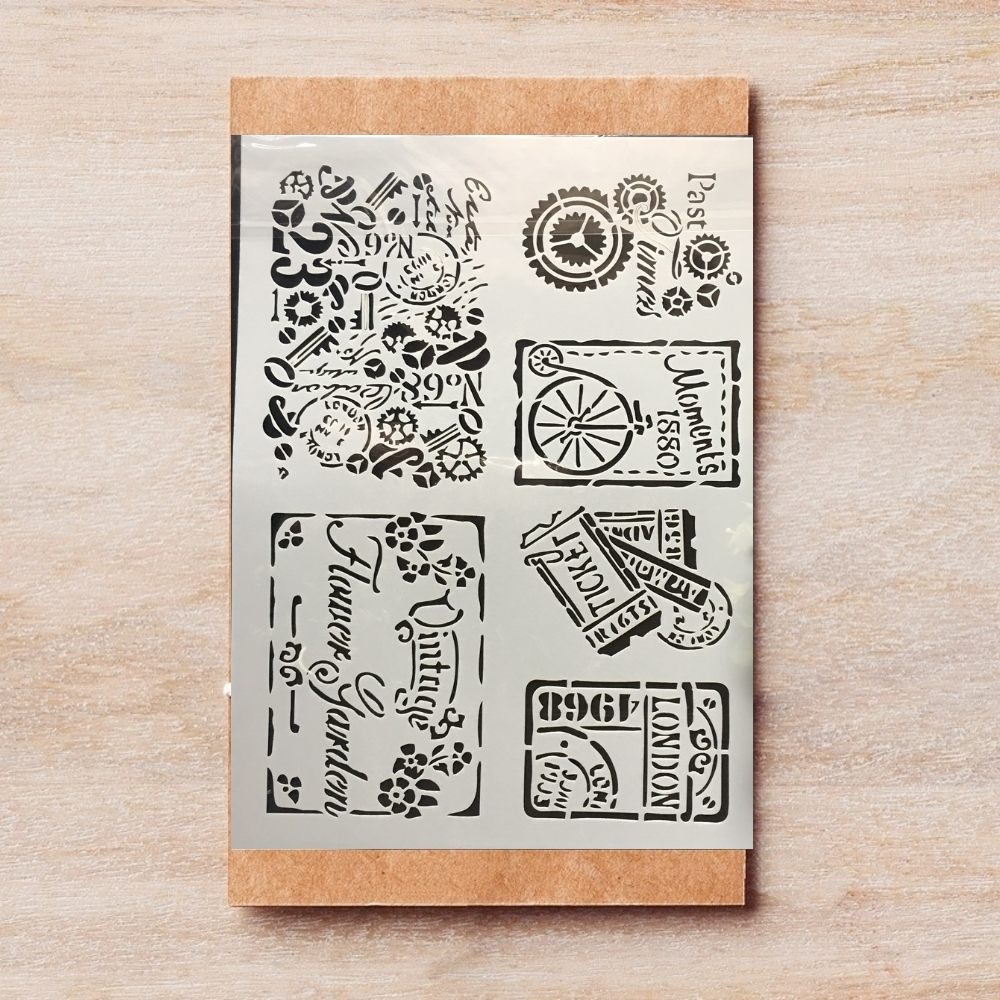 A4 Vintage Stamp Ticket DIY Layering Stencils Painting Scrapbook Coloring Embossing Album Decorative Template 29*21cm