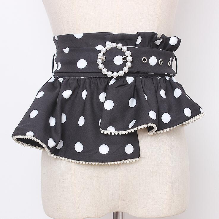 Women's Runway Fashion Dot Print Pearl Beaded Cummerbunds Female Dress Corsets Waistband Belts Decoration Wide Belt R2996