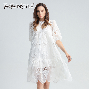 TWOTWINSTYLE Hollow Out Patchwork Lace Dress For Women O Neck Puff Sleeve Casual Loose Dresses Female 2020 Summer Fashion New summer casual women dresses o neck loose short sleeve oversize loose sports fashion leisure dress khaki including belt