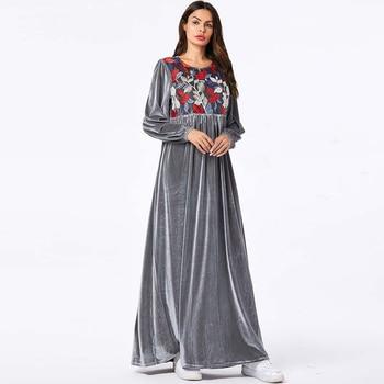 Velvet Abaya Turkey Islamic Arabic Long Muslim Dress Caftan Kaftan Tesettur Elbise Hijab Dresses Vestidos