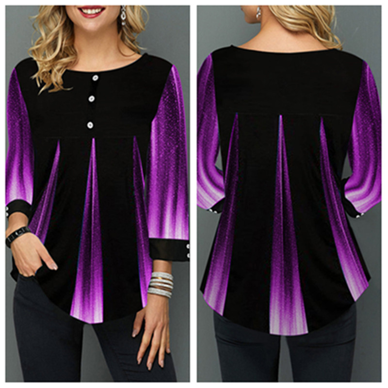 T Shirt Women Autumn Winter Loose Tops Irregular Hem Long Sleeve Gradient Color Printing Round Neck Shirts Plus Size 5XL