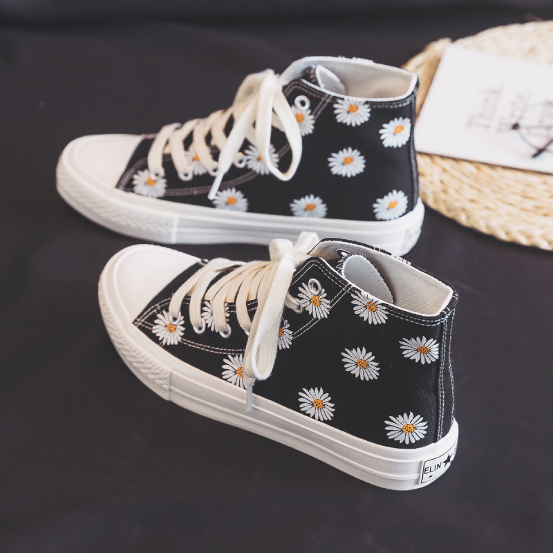 Women Daisy High Canvas Shoes Female Ulzzang Black Shoes Girls 2020 Spring New Casual Shoes Flower Sweet Avocado Green High Top