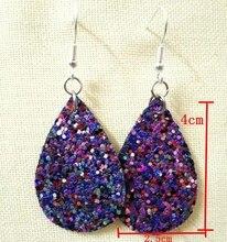 New Mini Style Glitter Teardrop Leather Earrings for Women Fashion Designer Jewelry Cute Blue Water Drop Earrings Wholesale