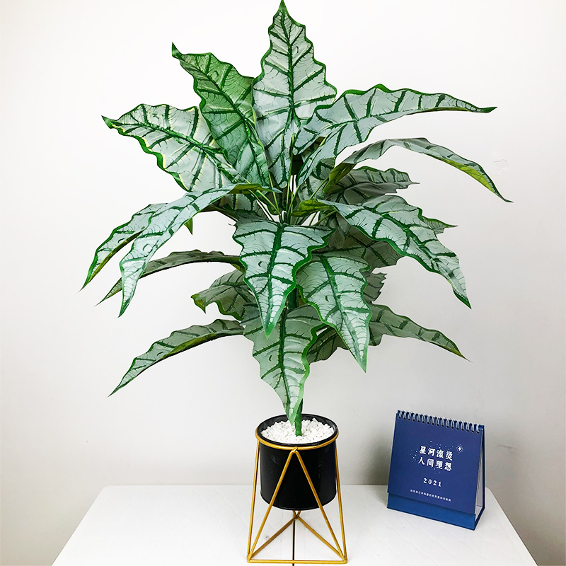 76cm/55cm Large Artificial Monstera Tropical Plants Fake Palm Tree Plastic Maranta Leaves Big Plant for Home Office Decoration-0